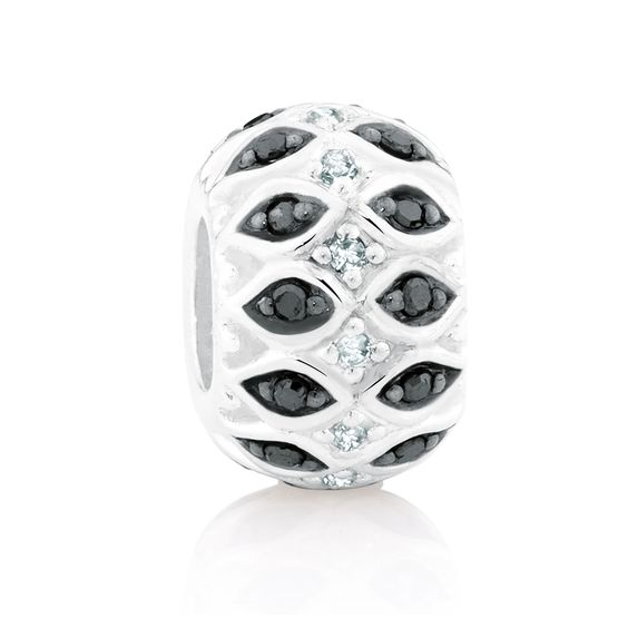 Sterling silver and diamond* charm (12368556) #marrakesh #emmaandroe *Coloured and black diamonds are irradiated and heat treated, respectively, to permanently enhance colour and may be sensitive to heat.