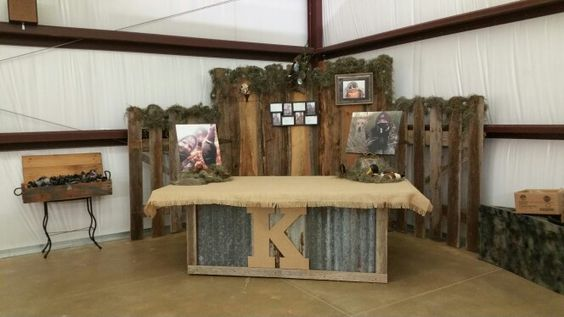 Table made out of old boards and tin for Grooms cake