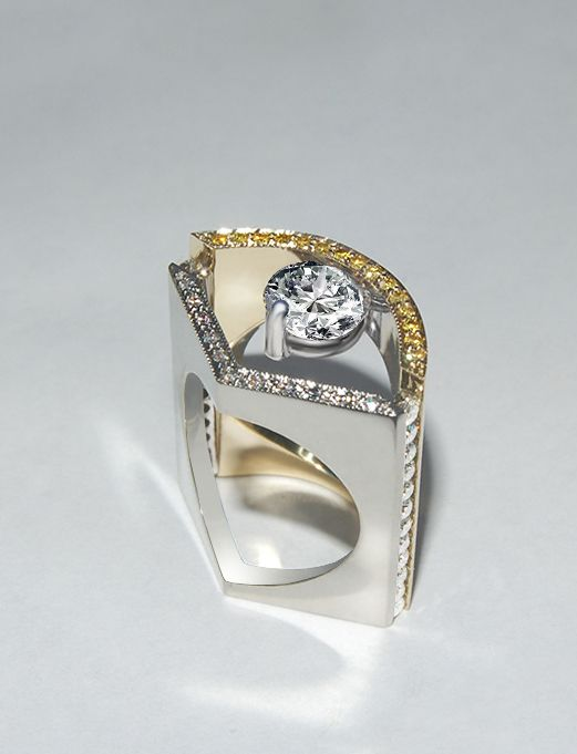 This contemporary design features a 1.00 carat round diamond. #michaelscreativejewelry #contemporary