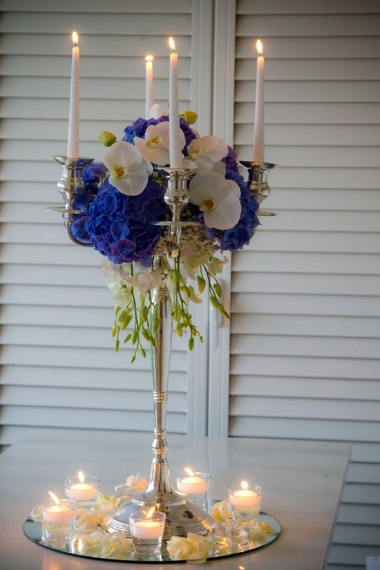 Royal blue centerpiece on a mirror base