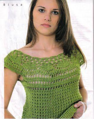 Green crochet tunic