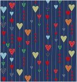 Látky - vzor 4494-602 Srdíčka modrá -