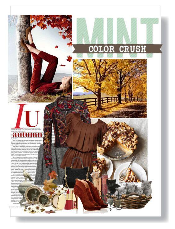 """Autumn Elegance."" by qamar-fashionista ❤ liked on Polyvore featuring Hermès, DEPT, Dolce&Gabbana, Yves Saint Laurent, Betsey Johnson, Jerome C. Rousseau and Estée Lauder"