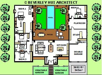 U shaped house plans with pool in the middle courtyard for Home designs 4 u