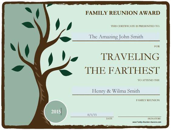 Free Printable Family Reunion Awards Family Reunion