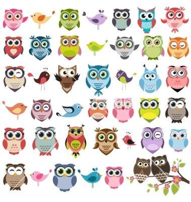 Set of color cartoon owls vector  - by Ann_Precious on VectorStock®