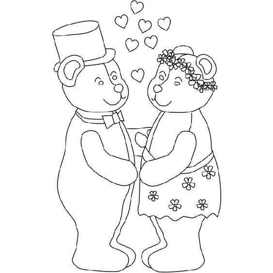 Coloriage Mariage Nounours a Imprimer Gratuit