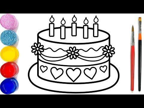 Drawing And Coloring Birthday Cake Dạy Be To Mau Menggambar