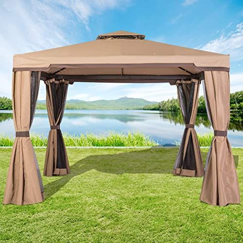 New Incbruce Outdoor Fabric Steel Canopy Tent 10x10 Gazebo Patios Vented Polyester Fabric Gazebo Mosquito Netting Brown Online Thepopbeautiful In 2020 Patio Gazebo 10x10 Gazebo Gazebo