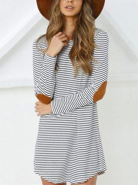 White Stripe Round Neck Long Sleeves Mini Dress