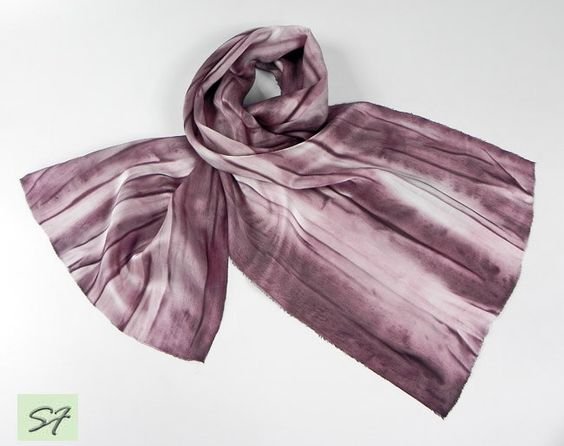 Hand Painted Men Silk Scarf Plum Satin Scarf Hand Dyed Silk Scarf Abstract Boho Silk Scarf Unique Handmade Scarves Mens Gifts for Men by SilkFantazi on Etsy
