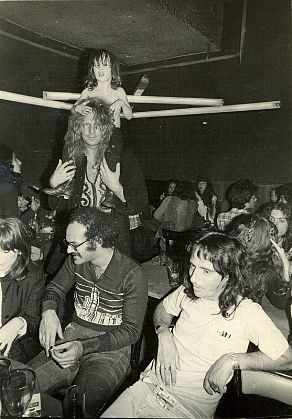 AntonPerich, Nico, Shep Gordon, Authur Kane with Ari Boulon on His Shoulders, and Alice Cooper, With the Dan Flavin Neon Sculpture at Max's Kansas City
