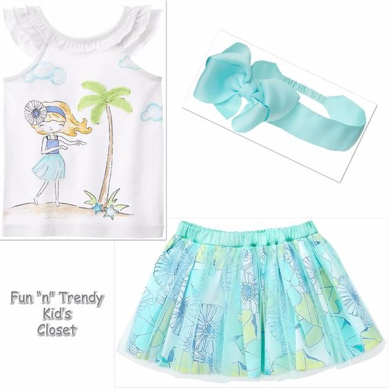 NWT Gymboree TIDE POOL Girls Size 2T 3T Tutu Skirt Tank Top Headband 3-PC OUTFIT…