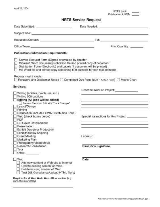 Service Request Form Templates Word 369 Microsoft Word