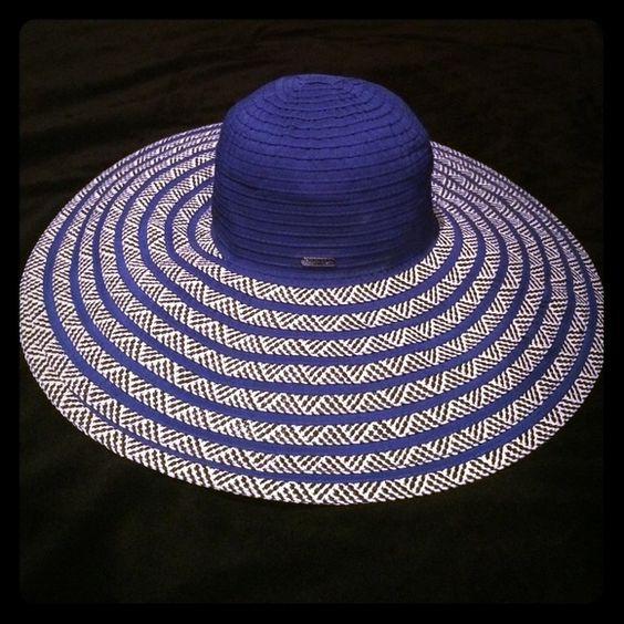Calvin Klein wide brim hat Royal blue with black and white. Worn once. Calvin Klein Accessories Hats