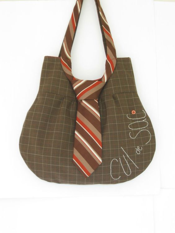 Necktie Bag upcycled purse: