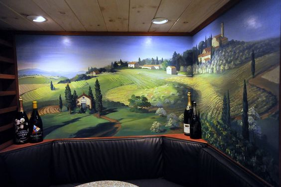 the mural in the wine cellar of the White Barn Inn was painted by my mom, Judith Hardenbrook!