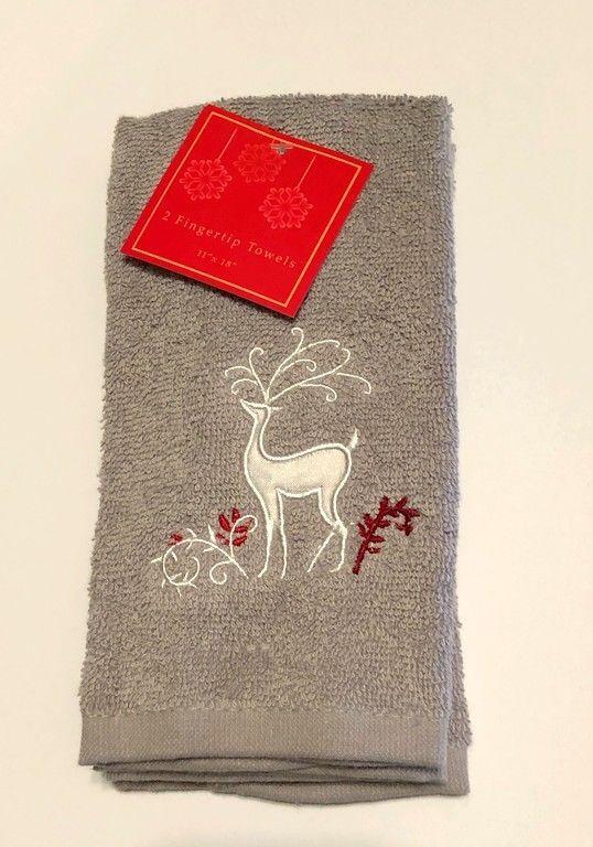 Reindeer Christmas Cotton Finger Tip Gray Towels Set Of 2