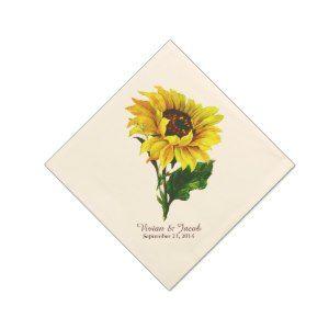 """Vintage Sunflower Custom Wedding Napkins Paper Napkins (<em data-recalc-dims=""""1"""">$62.95</em>)"""