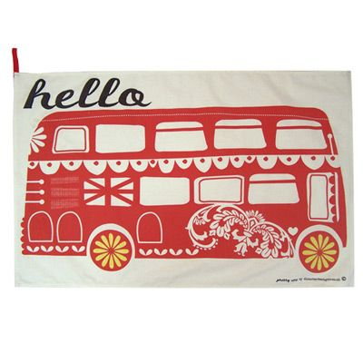 London Bus Teatowel $11.99 from www.thebritishchick.com