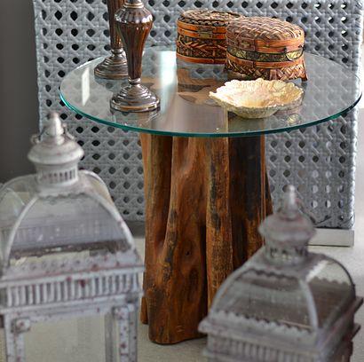 Mesa lateral de madeira maci a feitas de tronco de rvore for Mesa de tronco