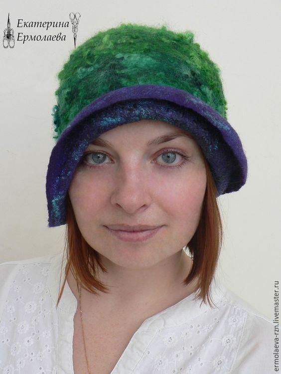 """Купить Валяная женская шляпка """"Изумруд"""" - зеленый, валяная шапка, валяная шляпка, шерстяная шапка"""