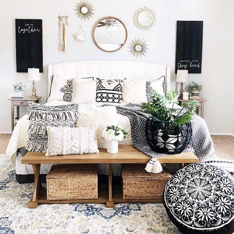 Master bedroom boho farmhouse style black and white | White
