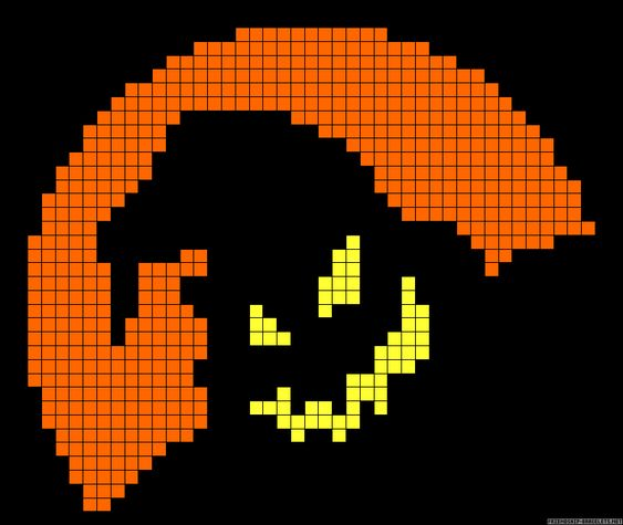 Halloween perler bead pattern - would be easy to convert to cross stitch