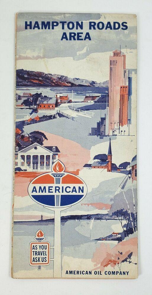 1965 American Oil Company Gas Service Station Map Hampton Roads Area Amoco Hampton Roads Station Map Oil Company