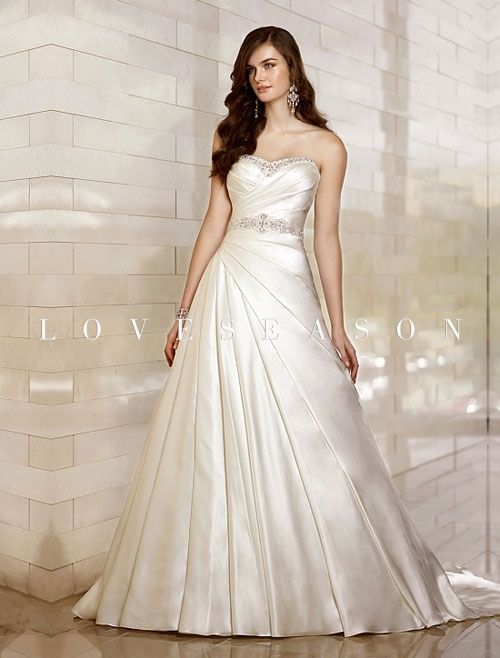 Exquisite Satin A-line Sweetheart Court Train Sleeveless Natural Beading Wedding Dress - LoveSeason