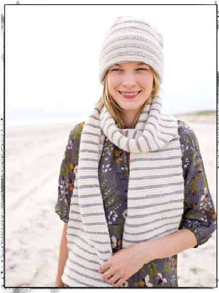 Gray and white stripes -- beautiful #knit scarf  hat @Brittany Prater Brand