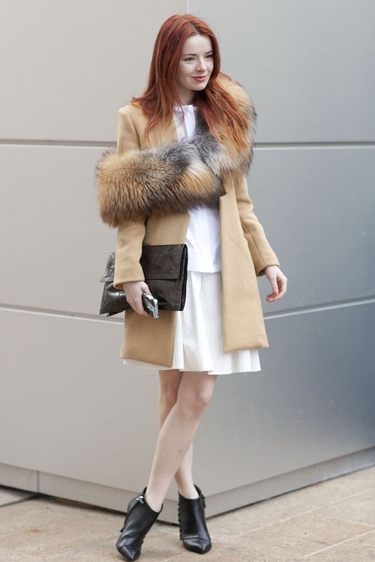 Seaofshoes #blogger #camelcoat #furstole #tallblackbooties #whitedress #clutch