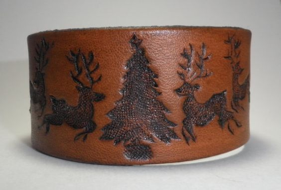 Hand Carved Leather Christmas Reindeer Bracelet by BandKcustoms, $25.00