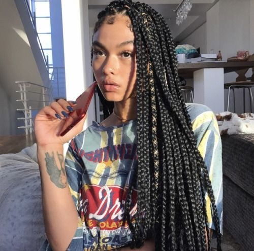 India Love Hairstyle Box Braids With Gold Thread Cute And