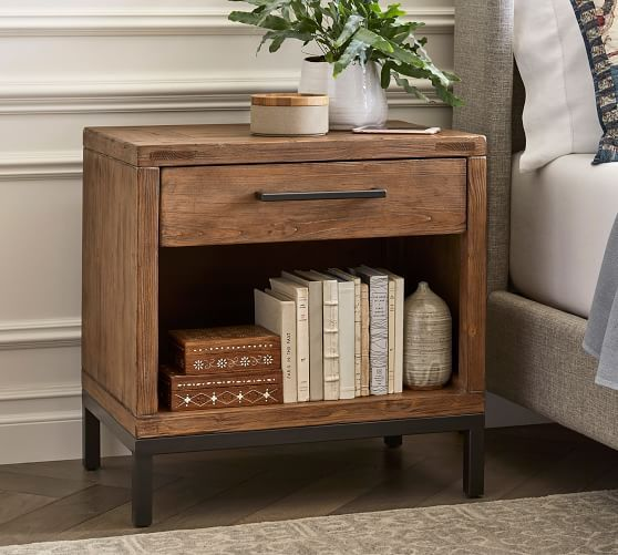 Malcolm Nightstand Glazed Pine In 2020 Pottery Barn Bedrooms