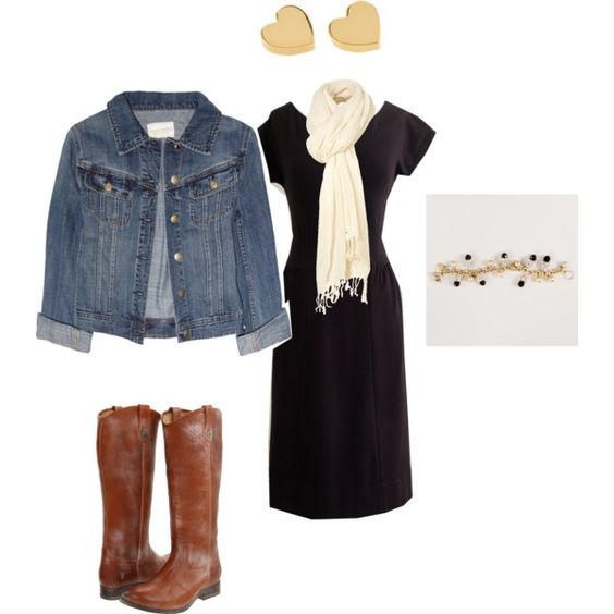 jean jacket with any black dress and I like the boot color, just not cowboy so much