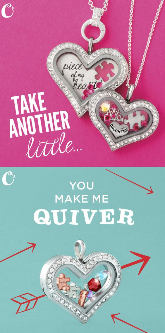 Origami Owl #heart #lockets. Great #gifts for Mother's Day....MoM and Daughter