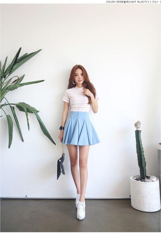 Denim skirts Korean fashion and Skirts on Pinterest