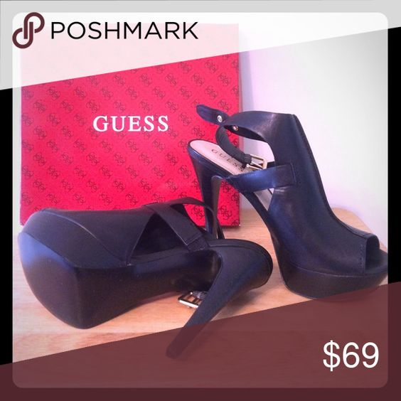 GUESS black leather stilettos This stylish pair of black wedge stilettos is a must have for any DIVA on the move! GUESS = QUALITY! Brand-new shoes for an excellent price. Size 8 1/2 M. Baby, you're worth it! Guess Shoes Heels
