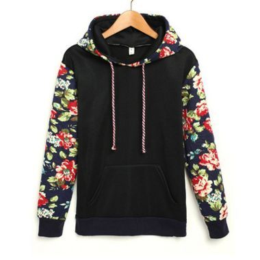 """Fashion students floral sleeve hooded fleece pullover   Coupon code""""cutekawaii"""" for 10% off"""