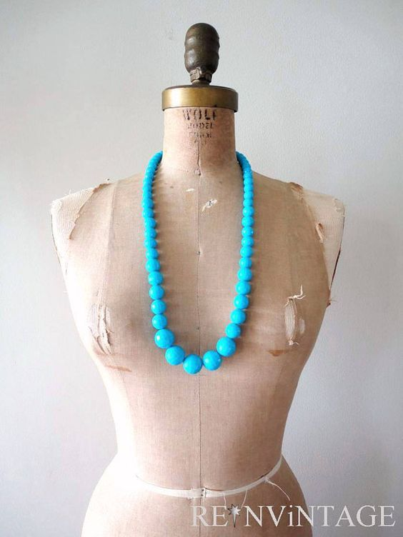 vintage NEON BLUE beaded necklace