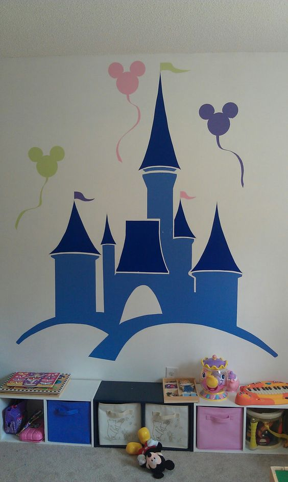 Playroom mural for our little princess disney world for Disney world mural