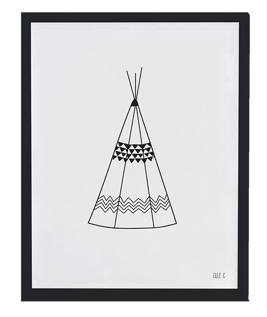 affiche noir et blanc teepee le chic du noir associ. Black Bedroom Furniture Sets. Home Design Ideas