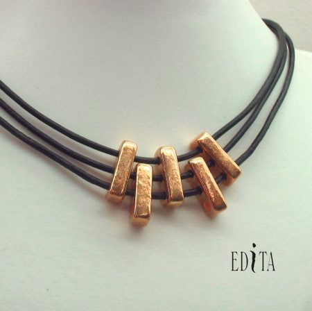 """Five handmade gold plated ceramic rectangles on leather ribbons. Length: (approx). 16"""" long. Black Beauty Israeli Jewelry made in Israel - Israeli Leather at: www.israeli-jewelry.c"""