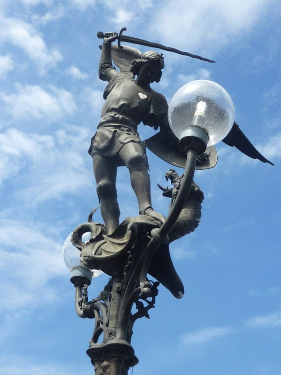 Belgium, Ghent, lamp post, Sculpture Mastering the Dragon: