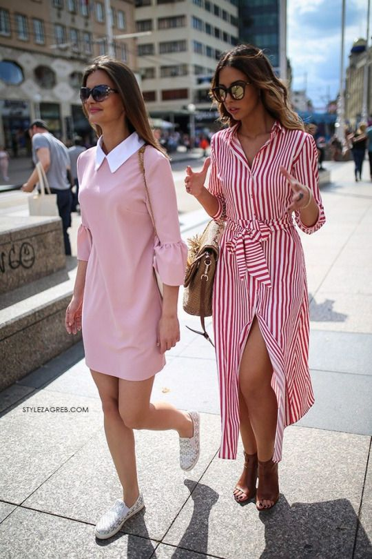 Street - Style / vestido / listras / stripes / pink / gola