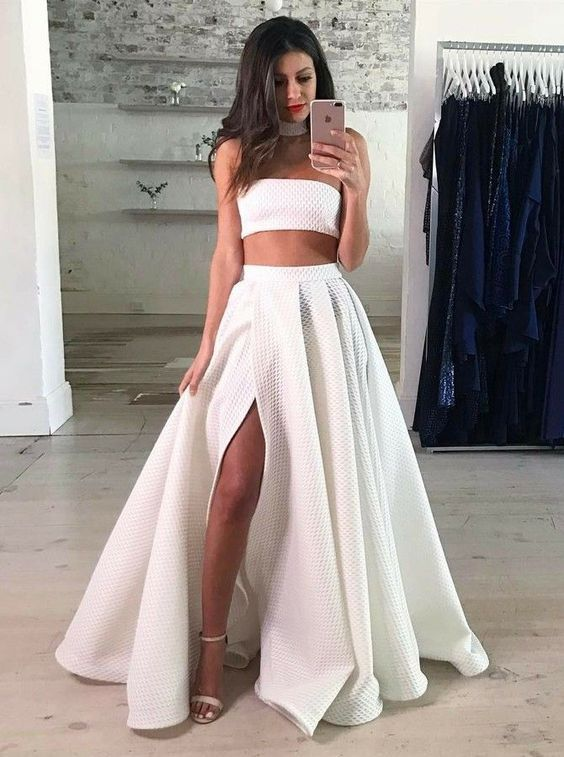 Two Piece Strapless Floor Length White Lace Prom Dress With