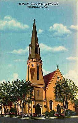 Montgomery Alabama AL 1943 St John's Episcopal Church Vintage Linen Postcard