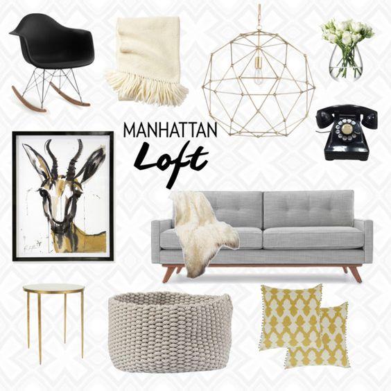 Manhattan Loft by deliciambrewer on Polyvore featuring interior, interiors, interior design, home, home decor, interior decorating, Thrive, Serena & Lily, Jonathan Adler and Niki Jones