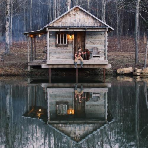 Cabin Reflection in Lake